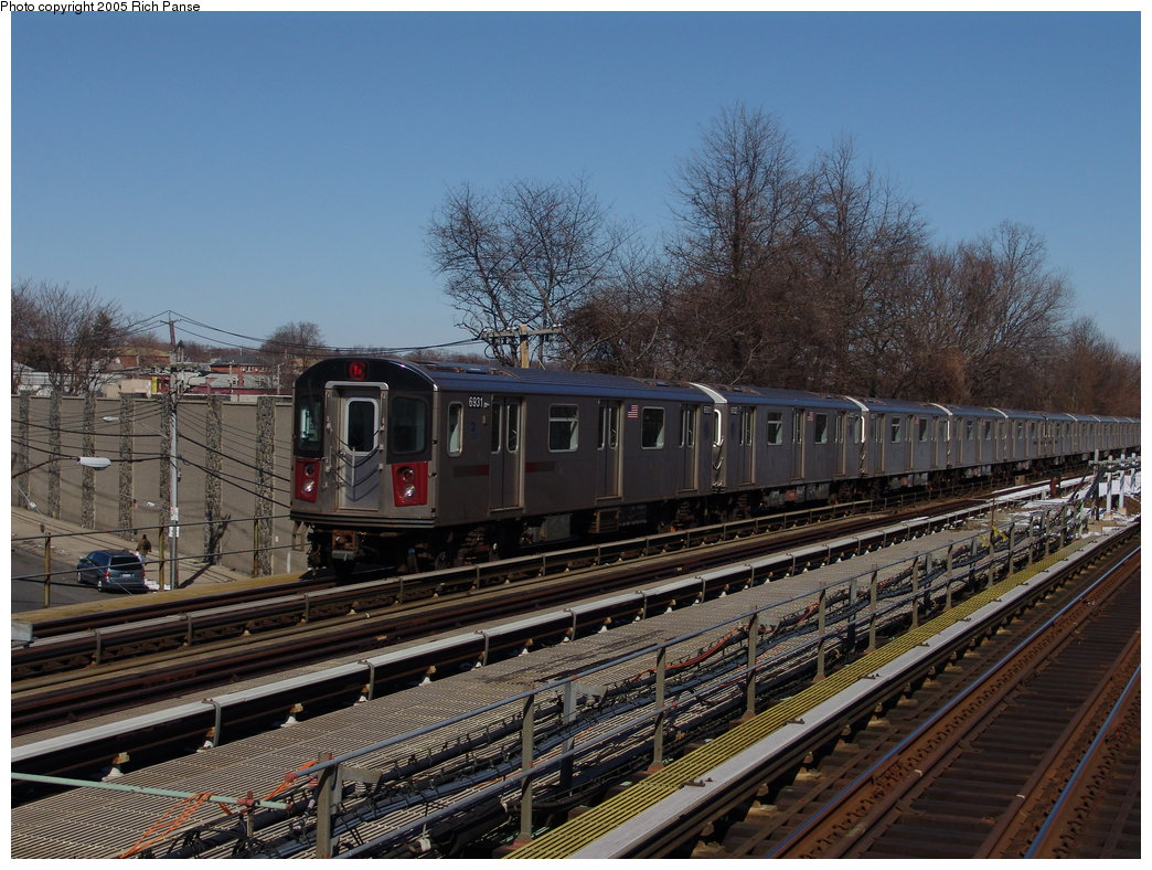 (223k, 1044x788)<br><b>Country:</b> United States<br><b>City:</b> New York<br><b>System:</b> New York City Transit<br><b>Line:</b> IRT Dyre Ave. Line<br><b>Location:</b> Baychester Avenue <br><b>Route:</b> 5<br><b>Car:</b> R-142 (Primary Order, Bombardier, 1999-2002)  6931 <br><b>Photo by:</b> Richard Panse<br><b>Date:</b> 2/27/2005<br><b>Viewed (this week/total):</b> 0 / 3509