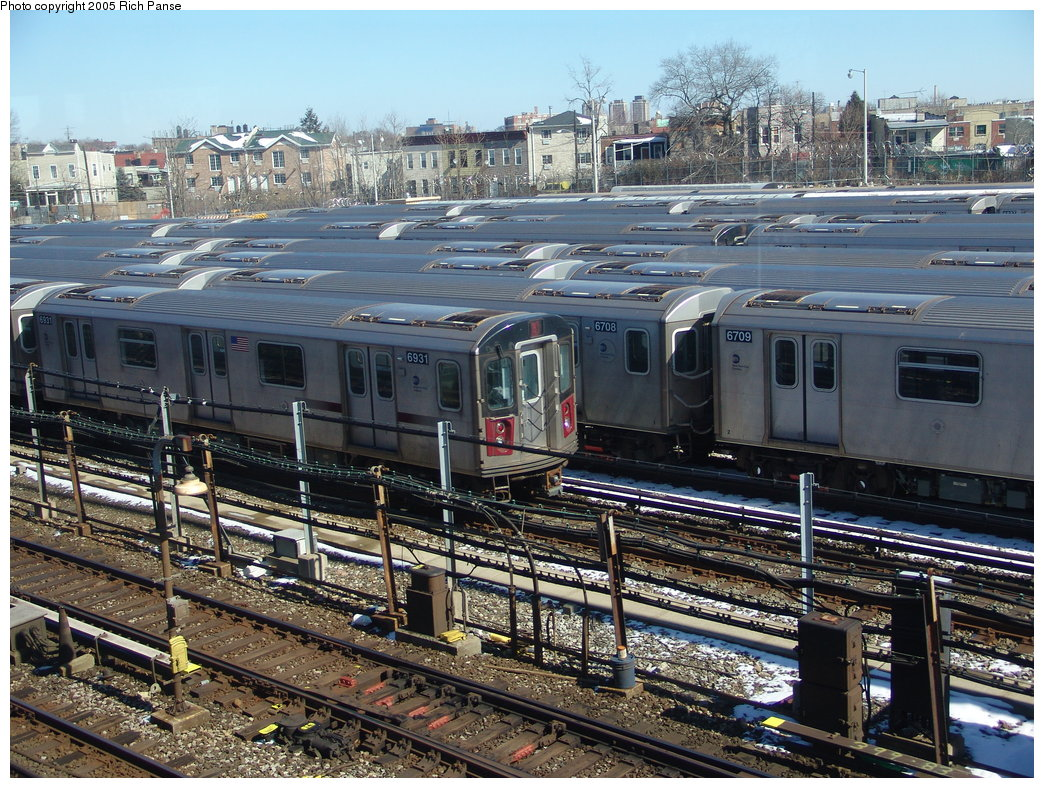 (281k, 1044x788)<br><b>Country:</b> United States<br><b>City:</b> New York<br><b>System:</b> New York City Transit<br><b>Location:</b> Unionport Yard<br><b>Route:</b> 2<br><b>Car:</b> R-142 (Primary Order, Bombardier, 1999-2002)  6931 <br><b>Photo by:</b> Richard Panse<br><b>Date:</b> 2/27/2005<br><b>Viewed (this week/total):</b> 2 / 3318