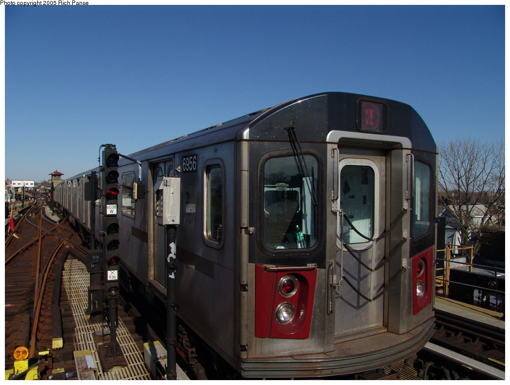 (166k, 1044x788)<br><b>Country:</b> United States<br><b>City:</b> New York<br><b>System:</b> New York City Transit<br><b>Line:</b> IRT White Plains Road Line<br><b>Location:</b> 238th Street (Nereid Avenue) <br><b>Route:</b> 2<br><b>Car:</b> R-142 (Primary Order, Bombardier, 1999-2002)  6956 <br><b>Photo by:</b> Richard Panse<br><b>Date:</b> 2/27/2005<br><b>Viewed (this week/total):</b> 0 / 4201