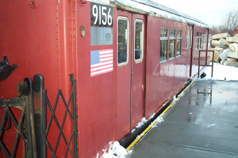 (35k, 480x319)<br><b>Country:</b> United States<br><b>City:</b> New York<br><b>System:</b> New York City Transit<br><b>Location:</b> NYPD Emergency Services training facility, Floyd Bennett Field<br><b>Car:</b> R-33 Main Line (St. Louis, 1962-63) 9156 <br><b>Photo by:</b> J. Dresner<br><b>Date:</b> 3/2/2005<br><b>Viewed (this week/total):</b> 2 / 3475