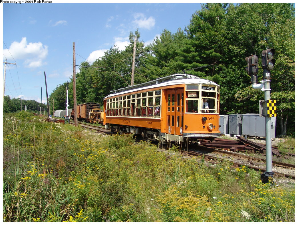 (355k, 1044x788)<br><b>Country:</b> United States<br><b>City:</b> Kennebunk, ME<br><b>System:</b> Seashore Trolley Museum <br><b>Car:</b> MBTA 4387 <br><b>Photo by:</b> Richard Panse<br><b>Date:</b> 9/4/2004<br><b>Viewed (this week/total):</b> 1 / 1134