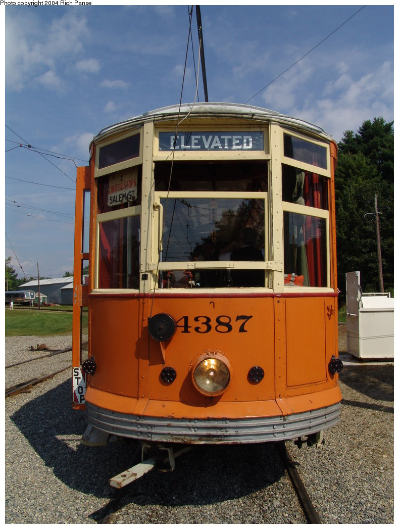 (204k, 790x1047)<br><b>Country:</b> United States<br><b>City:</b> Kennebunk, ME<br><b>System:</b> Seashore Trolley Museum <br><b>Car:</b> MBTA 4387 <br><b>Photo by:</b> Richard Panse<br><b>Date:</b> 9/4/2004<br><b>Viewed (this week/total):</b> 0 / 1385