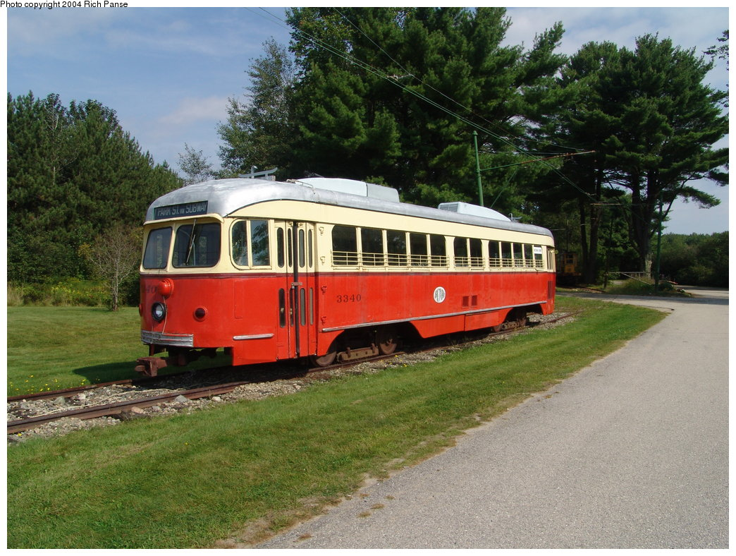 (244k, 1044x788)<br><b>Country:</b> United States<br><b>City:</b> Kennebunk, ME<br><b>System:</b> Seashore Trolley Museum <br><b>Car:</b> MBTA/BSRy PCC Dallas Double End (Pullman-Standard, 1945)  3340 <br><b>Photo by:</b> Richard Panse<br><b>Date:</b> 9/4/2004<br><b>Notes:</b> Former Dallas Railway & Terminal 615<br><b>Viewed (this week/total):</b> 2 / 2887