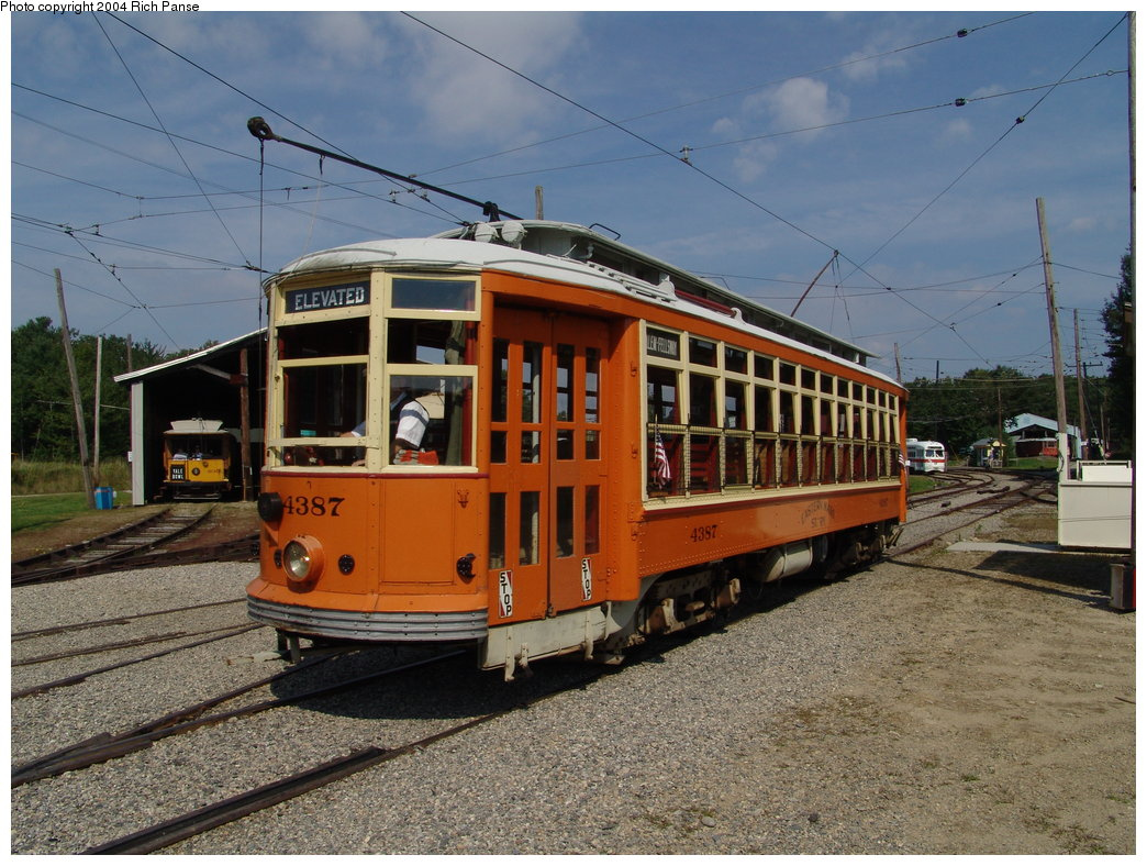 (225k, 1044x788)<br><b>Country:</b> United States<br><b>City:</b> Kennebunk, ME<br><b>System:</b> Seashore Trolley Museum <br><b>Car:</b> MBTA 4387 <br><b>Photo by:</b> Richard Panse<br><b>Date:</b> 9/4/2004<br><b>Viewed (this week/total):</b> 1 / 987