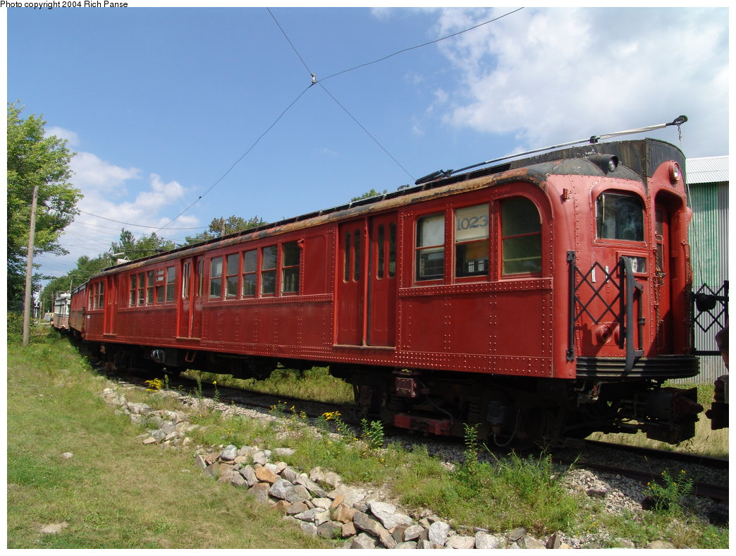 (218k, 1044x788)<br><b>Country:</b> United States<br><b>City:</b> Kennebunk, ME<br><b>System:</b> Seashore Trolley Museum <br><b>Car:</b> PTC/SEPTA B-2 DRPA Bridge Line (J.G. Brill, 1936)  1023 <br><b>Photo by:</b> Richard Panse<br><b>Date:</b> 9/4/2004<br><b>Viewed (this week/total):</b> 1 / 2237
