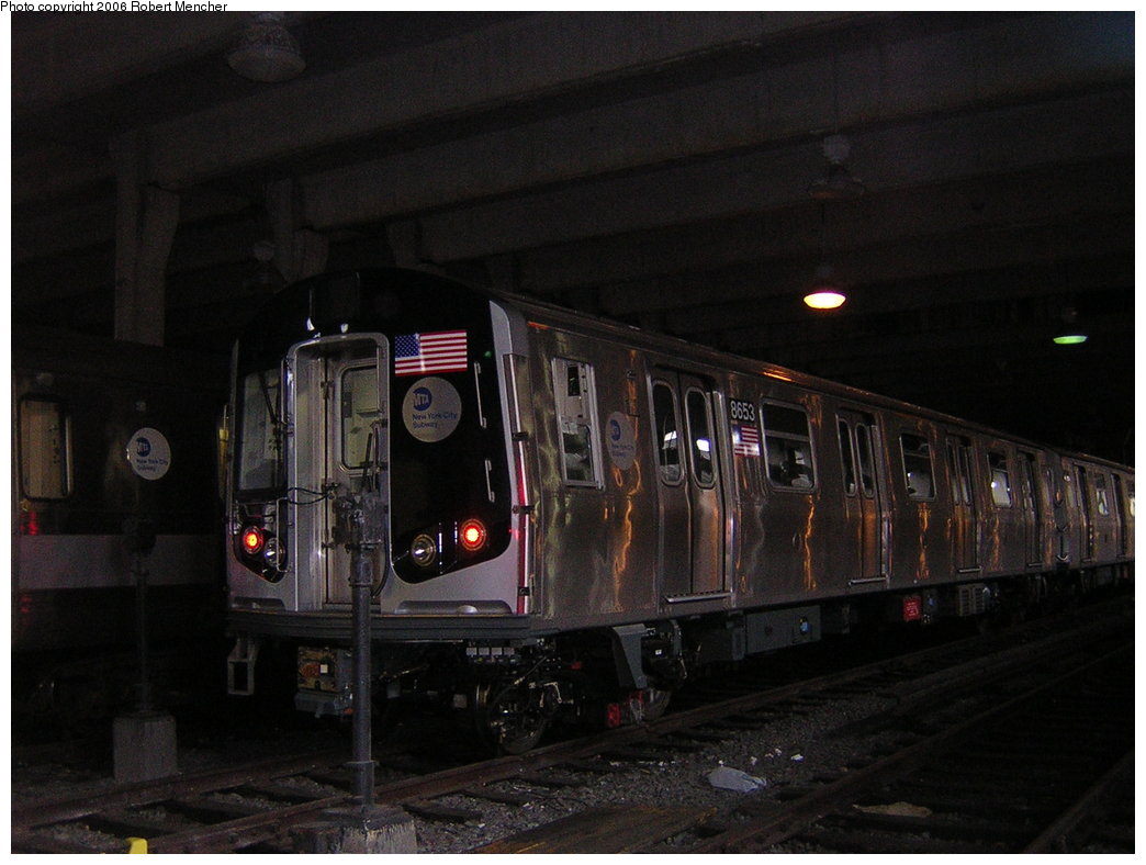 (172k, 1044x788)<br><b>Country:</b> United States<br><b>City:</b> New York<br><b>System:</b> New York City Transit<br><b>Location:</b> Pitkin Yard/Shops<br><b>Car:</b> R-160A-2 (Alstom, 2005-2008, 5 car sets)  8653 <br><b>Photo by:</b> Robert Mencher<br><b>Date:</b> 3/25/2006<br><b>Viewed (this week/total):</b> 3 / 4109
