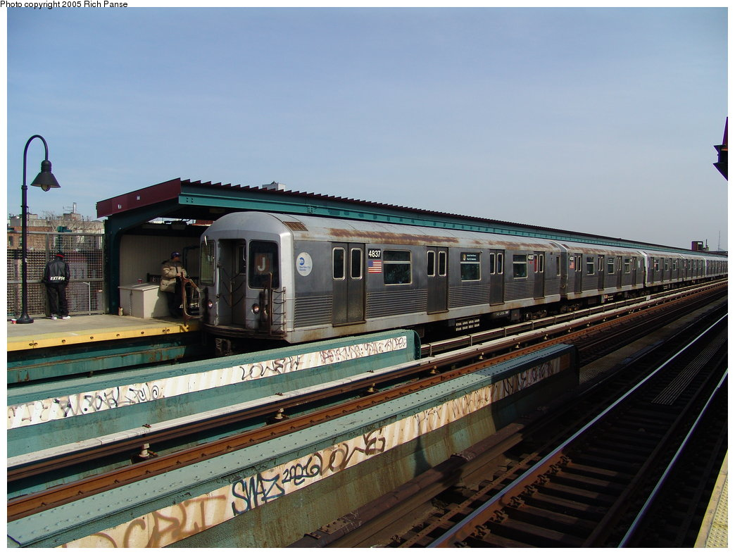 (184k, 1044x788)<br><b>Country:</b> United States<br><b>City:</b> New York<br><b>System:</b> New York City Transit<br><b>Line:</b> BMT Nassau Street/Jamaica Line<br><b>Location:</b> Gates Avenue <br><b>Route:</b> J<br><b>Car:</b> R-42 (St. Louis, 1969-1970)  4837 <br><b>Photo by:</b> Richard Panse<br><b>Date:</b> 3/16/2005<br><b>Viewed (this week/total):</b> 0 / 3129