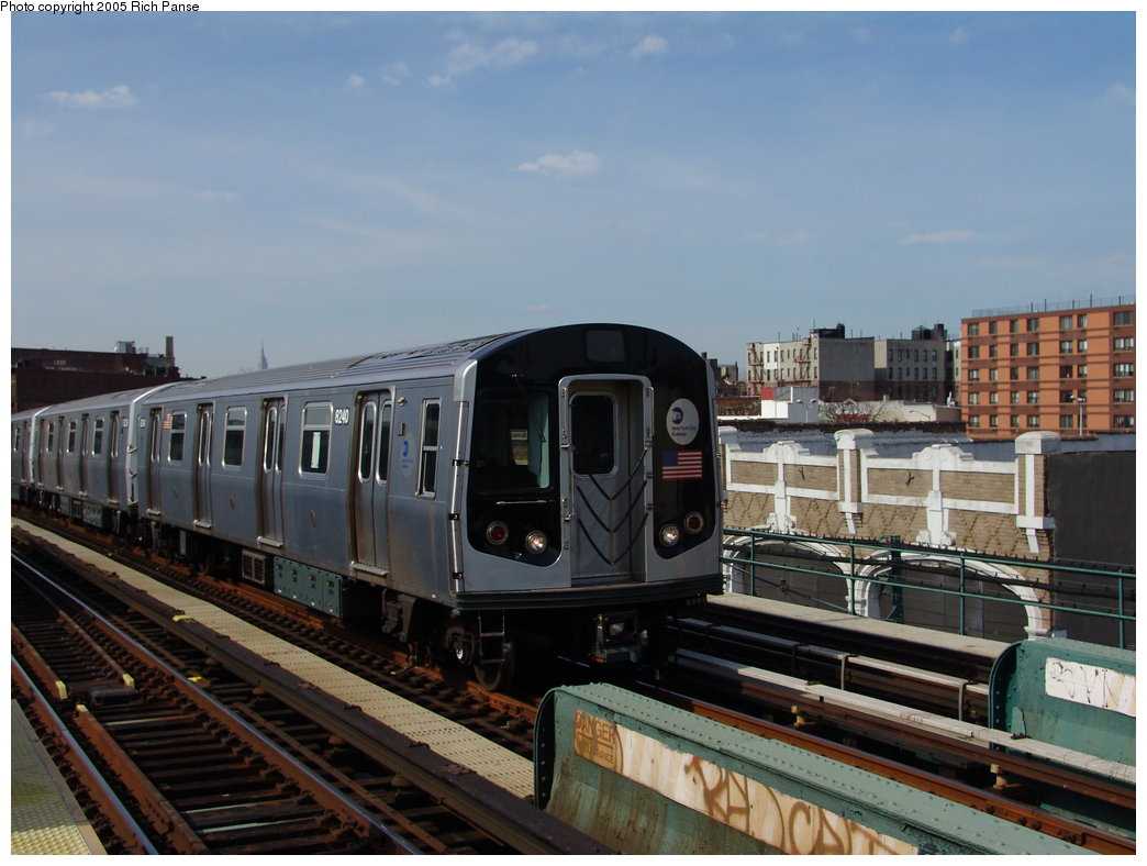 (165k, 1044x788)<br><b>Country:</b> United States<br><b>City:</b> New York<br><b>System:</b> New York City Transit<br><b>Line:</b> BMT Nassau Street/Jamaica Line<br><b>Location:</b> Gates Avenue <br><b>Route:</b> Test<br><b>Car:</b> R-143 (Kawasaki, 2001-2002) 8240 <br><b>Photo by:</b> Richard Panse<br><b>Date:</b> 3/16/2005<br><b>Viewed (this week/total):</b> 3 / 4066