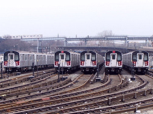 (101k, 503x377)<br><b>Country:</b> United States<br><b>City:</b> New York<br><b>System:</b> New York City Transit<br><b>Location:</b> Westchester Yard<br><b>Car:</b> R-142 or R-142A (Number Unknown)  <br><b>Photo by:</b> Irwin Markowitz<br><b>Date:</b> 3/20/2005<br><b>Viewed (this week/total):</b> 0 / 5569