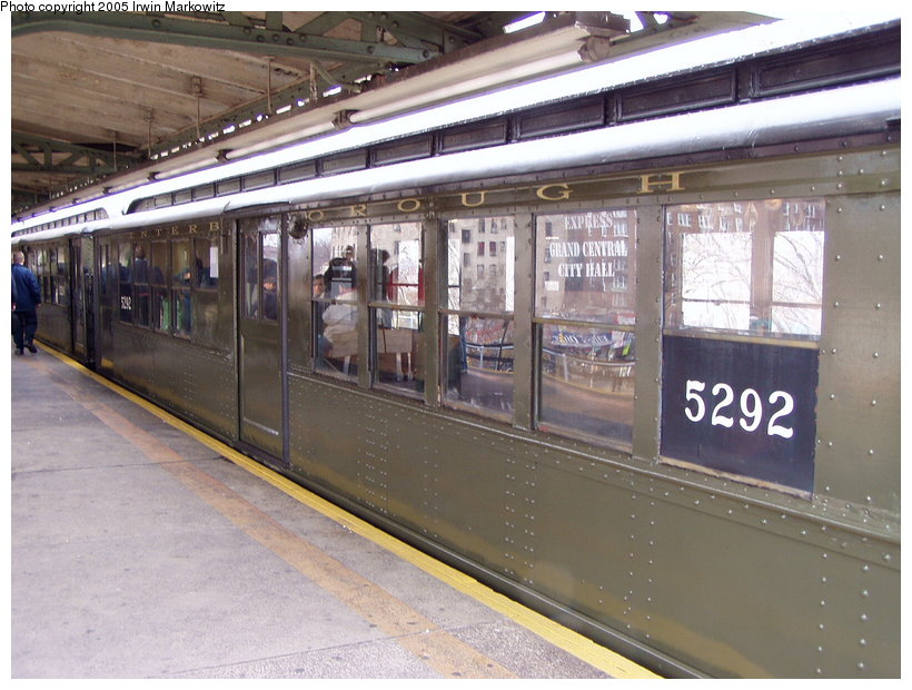 (138k, 820x620)<br><b>Country:</b> United States<br><b>City:</b> New York<br><b>System:</b> New York City Transit<br><b>Line:</b> IRT Woodlawn Line<br><b>Location:</b> Burnside Avenue <br><b>Route:</b> Fan Trip<br><b>Car:</b> Low-V (Museum Train) 5292 <br><b>Photo by:</b> Irwin Markowitz<br><b>Date:</b> 3/20/2005<br><b>Viewed (this week/total):</b> 0 / 2363