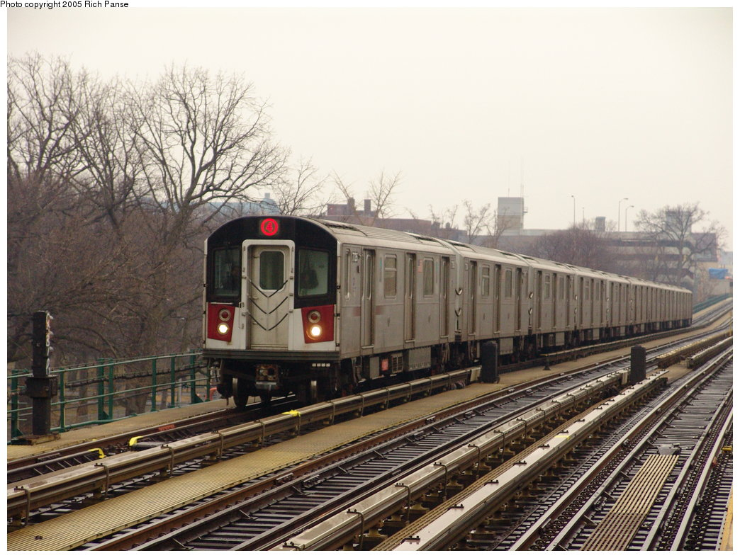 (212k, 1044x788)<br><b>Country:</b> United States<br><b>City:</b> New York<br><b>System:</b> New York City Transit<br><b>Line:</b> IRT Woodlawn Line<br><b>Location:</b> Kingsbridge Road <br><b>Route:</b> 4<br><b>Car:</b> R-142A (Supplemental Order, Kawasaki, 2003-2004)  7736 <br><b>Photo by:</b> Richard Panse<br><b>Date:</b> 3/20/2005<br><b>Viewed (this week/total):</b> 0 / 4086