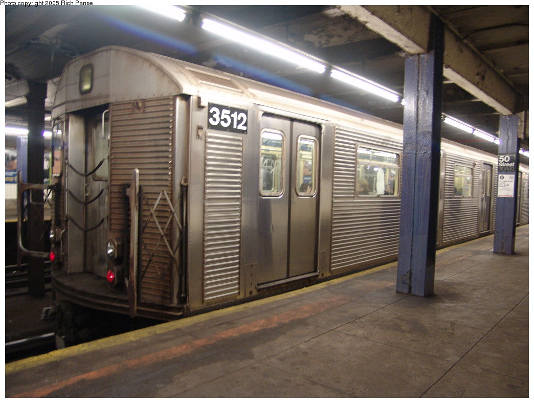 (182k, 1044x788)<br><b>Country:</b> United States<br><b>City:</b> New York<br><b>System:</b> New York City Transit<br><b>Line:</b> IND Queens Boulevard Line<br><b>Location:</b> 50th Street <br><b>Route:</b> E<br><b>Car:</b> R-32 (Budd, 1964)  3512 <br><b>Photo by:</b> Richard Panse<br><b>Date:</b> 3/22/2005<br><b>Viewed (this week/total):</b> 0 / 4254