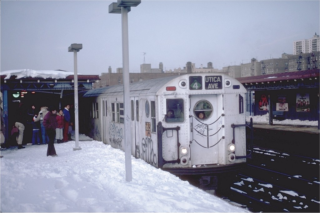 (162k, 1024x682)<br><b>Country:</b> United States<br><b>City:</b> New York<br><b>System:</b> New York City Transit<br><b>Line:</b> IRT Woodlawn Line<br><b>Location:</b> 161st Street/River Avenue (Yankee Stadium) <br><b>Route:</b> 4<br><b>Car:</b> R-17 (St. Louis, 1955-56) 6813 <br><b>Photo by:</b> Steve Zabel<br><b>Collection of:</b> Joe Testagrose<br><b>Date:</b> 2/12/1983<br><b>Viewed (this week/total):</b> 0 / 4681