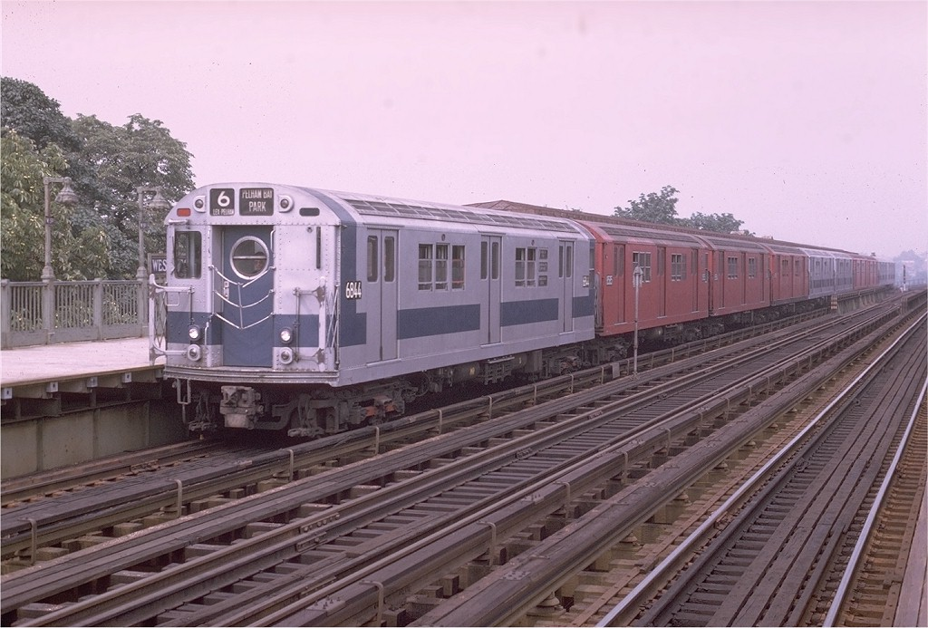 (194k, 1024x693)<br><b>Country:</b> United States<br><b>City:</b> New York<br><b>System:</b> New York City Transit<br><b>Line:</b> IRT Pelham Line<br><b>Location:</b> Westchester Square <br><b>Route:</b> 6<br><b>Car:</b> R-17 (St. Louis, 1955-56) 6844 <br><b>Photo by:</b> Joe Testagrose<br><b>Date:</b> 8/1/1970<br><b>Viewed (this week/total):</b> 1 / 1900