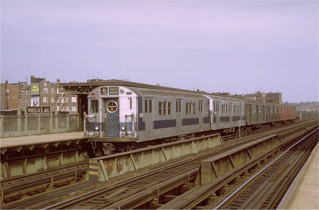 (179k, 1024x674)<br><b>Country:</b> United States<br><b>City:</b> New York<br><b>System:</b> New York City Transit<br><b>Line:</b> IRT Pelham Line<br><b>Location:</b> Whitlock Avenue <br><b>Route:</b> 6<br><b>Car:</b> R-17 (St. Louis, 1955-56) 6851 <br><b>Photo by:</b> Joe Testagrose<br><b>Date:</b> 10/17/1971<br><b>Viewed (this week/total):</b> 1 / 2266