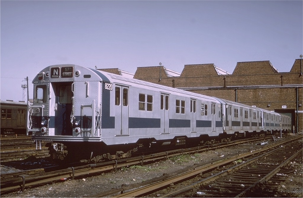 (185k, 1024x668)<br><b>Country:</b> United States<br><b>City:</b> New York<br><b>System:</b> New York City Transit<br><b>Location:</b> Coney Island Yard<br><b>Car:</b> R-27 (St. Louis, 1960)  8220 <br><b>Photo by:</b> Joe Testagrose<br><b>Date:</b> 5/4/1971<br><b>Viewed (this week/total):</b> 0 / 2720