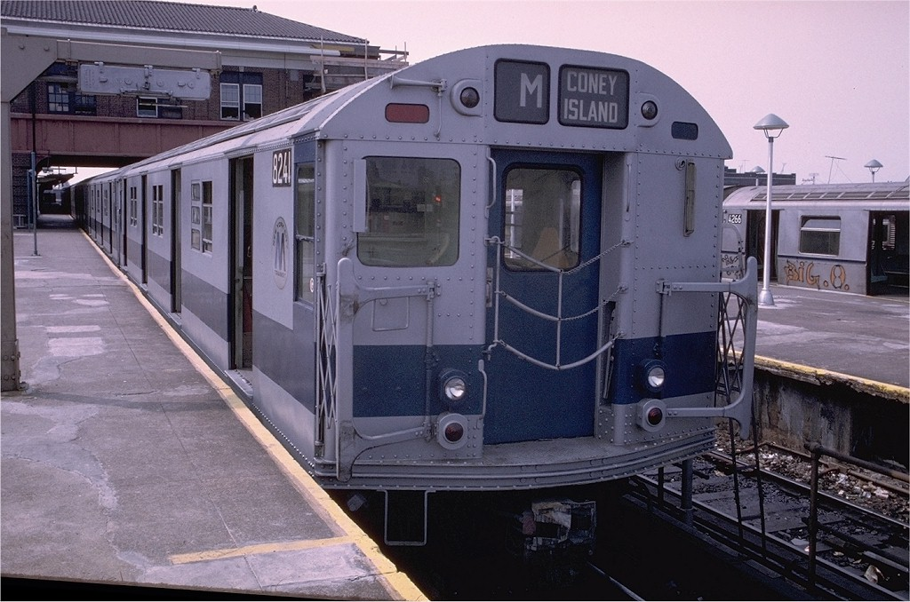 (202k, 1024x678)<br><b>Country:</b> United States<br><b>City:</b> New York<br><b>System:</b> New York City Transit<br><b>Location:</b> Coney Island/Stillwell Avenue<br><b>Route:</b> M<br><b>Car:</b> R-27 (St. Louis, 1960)  8241 <br><b>Photo by:</b> Doug Grotjahn<br><b>Collection of:</b> Joe Testagrose<br><b>Date:</b> 7/20/1973<br><b>Viewed (this week/total):</b> 8 / 2331