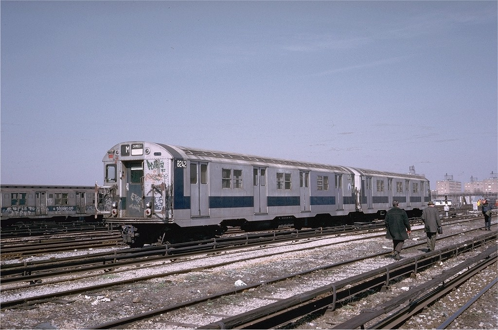 (225k, 1024x680)<br><b>Country:</b> United States<br><b>City:</b> New York<br><b>System:</b> New York City Transit<br><b>Location:</b> Coney Island Yard<br><b>Car:</b> R-27 (St. Louis, 1960)  8242 <br><b>Photo by:</b> Steve Zabel<br><b>Collection of:</b> Joe Testagrose<br><b>Date:</b> 3/20/1974<br><b>Viewed (this week/total):</b> 0 / 2439