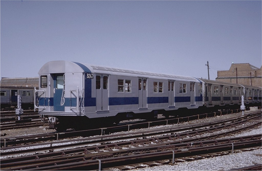 (199k, 1024x666)<br><b>Country:</b> United States<br><b>City:</b> New York<br><b>System:</b> New York City Transit<br><b>Location:</b> Coney Island Yard<br><b>Car:</b> R-27 (St. Louis, 1960)  8247 <br><b>Photo by:</b> Steve Zabel<br><b>Collection of:</b> Joe Testagrose<br><b>Date:</b> 4/8/1971<br><b>Viewed (this week/total):</b> 2 / 1836