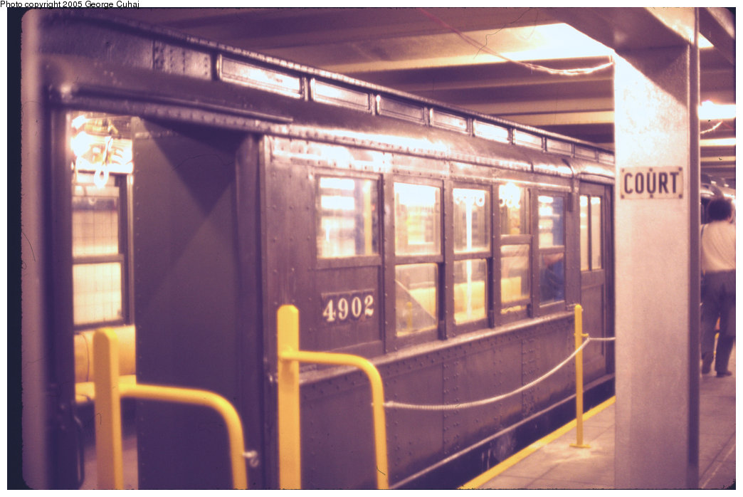 (177k, 1044x698)<br><b>Country:</b> United States<br><b>City:</b> New York<br><b>System:</b> New York City Transit<br><b>Location:</b> New York Transit Museum<br><b>Car:</b> Low-V 4902 <br><b>Photo by:</b> George Cuhaj<br><b>Date:</b> 7/2/1976<br><b>Viewed (this week/total):</b> 0 / 2873