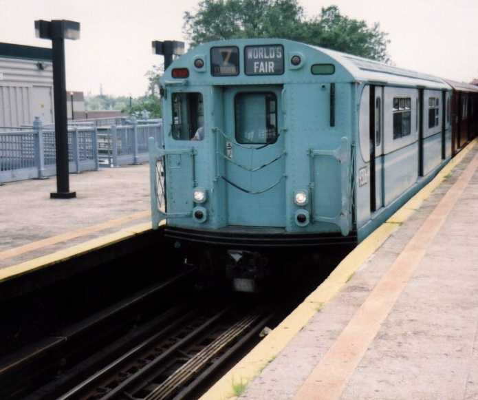 (33k, 695x581)<br><b>Country:</b> United States<br><b>City:</b> New York<br><b>System:</b> New York City Transit<br><b>Line:</b> IRT Flushing Line<br><b>Location:</b> Willets Point/Mets (fmr. Shea Stadium) <br><b>Route:</b> Fan Trip<br><b>Car:</b> R-33 World's Fair (St. Louis, 1963-64) 9306 <br><b>Photo by:</b> Gary Chatterton<br><b>Date:</b> 6/18/2004<br><b>Viewed (this week/total):</b> 4 / 2698