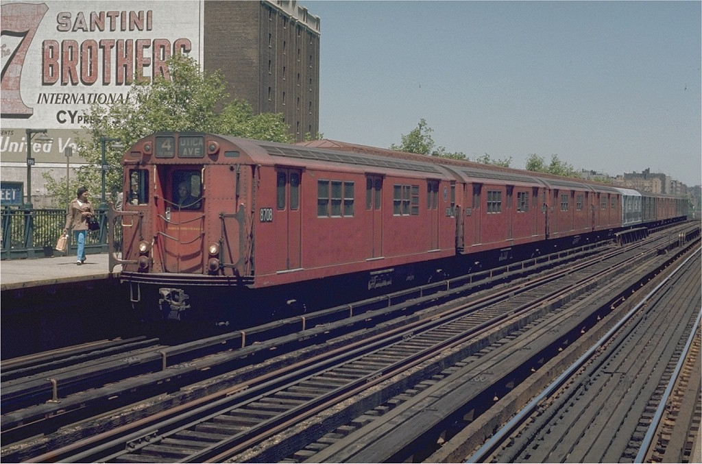 (220k, 1024x677)<br><b>Country:</b> United States<br><b>City:</b> New York<br><b>System:</b> New York City Transit<br><b>Line:</b> IRT Woodlawn Line<br><b>Location:</b> 170th Street <br><b>Route:</b> 4<br><b>Car:</b> R-29 (St. Louis, 1962) 8708 <br><b>Photo by:</b> Joe Testagrose<br><b>Date:</b> 5/30/1970<br><b>Viewed (this week/total):</b> 0 / 1707
