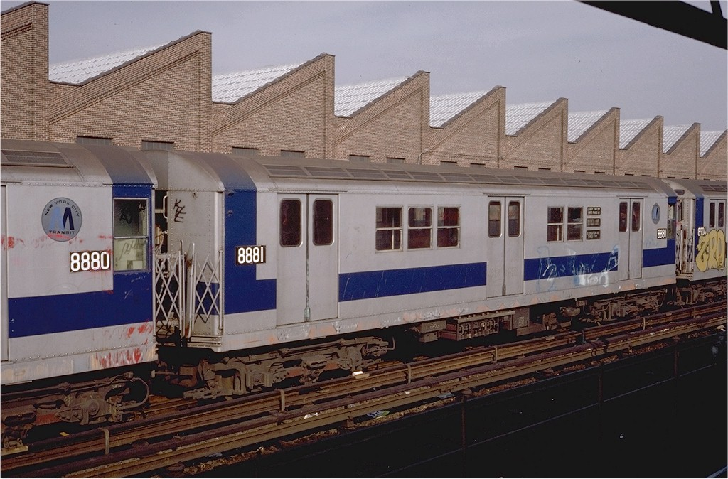 (198k, 1024x674)<br><b>Country:</b> United States<br><b>City:</b> New York<br><b>System:</b> New York City Transit<br><b>Location:</b> East 180th Street Yard<br><b>Car:</b> R-33 Main Line (St. Louis, 1962-63) 8881 <br><b>Photo by:</b> Steve Zabel<br><b>Collection of:</b> Joe Testagrose<br><b>Date:</b> 11/24/1979<br><b>Viewed (this week/total):</b> 0 / 2919