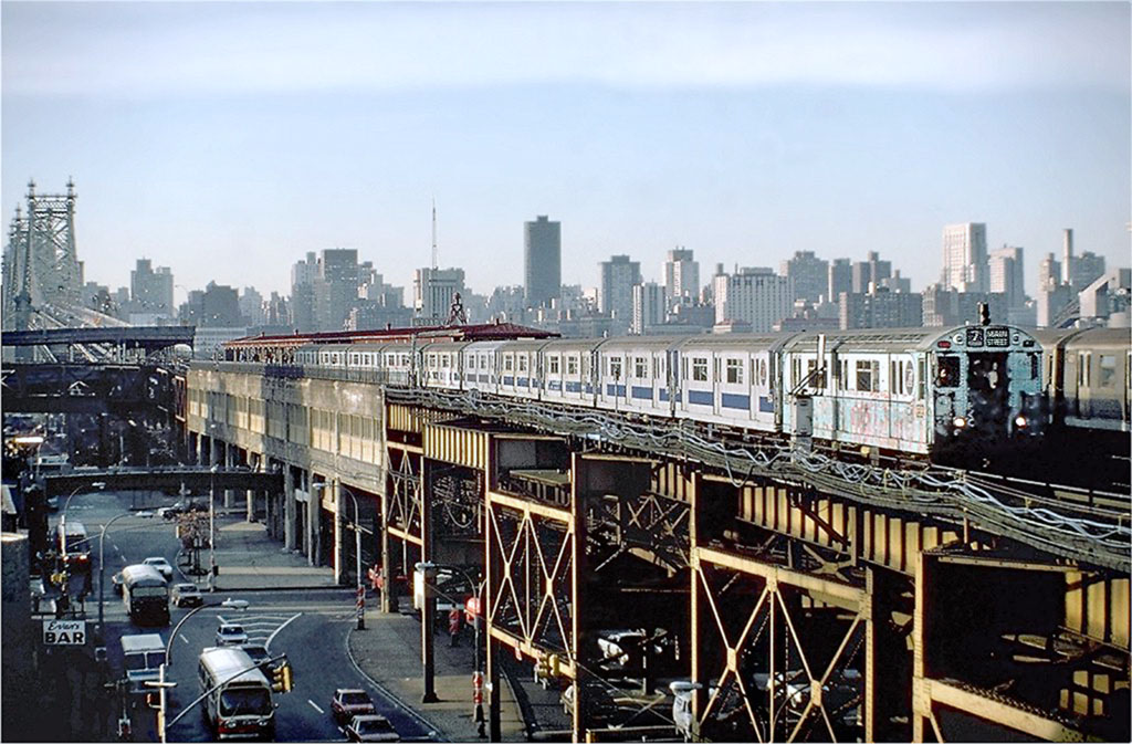 (192k, 1024x673)<br><b>Country:</b> United States<br><b>City:</b> New York<br><b>System:</b> New York City Transit<br><b>Line:</b> IRT Flushing Line<br><b>Location:</b> Queensborough Plaza <br><b>Route:</b> 7<br><b>Car:</b> R-33 World's Fair (St. Louis, 1963-64) 9318 <br><b>Photo by:</b> Steve Zabel<br><b>Collection of:</b> Joe Testagrose<br><b>Date:</b> 11/13/1981<br><b>Viewed (this week/total):</b> 0 / 5267