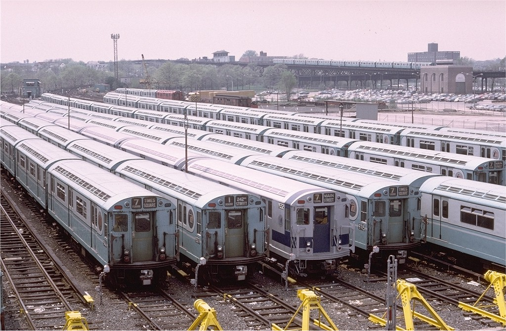 (262k, 1024x669)<br><b>Country:</b> United States<br><b>City:</b> New York<br><b>System:</b> New York City Transit<br><b>Location:</b> Corona Yard<br><b>Car:</b> R-36 World's Fair (St. Louis, 1963-64) 9414 <br><b>Photo by:</b> Doug Grotjahn<br><b>Collection of:</b> Joe Testagrose<br><b>Date:</b> 5/7/1972<br><b>Viewed (this week/total):</b> 4 / 3711