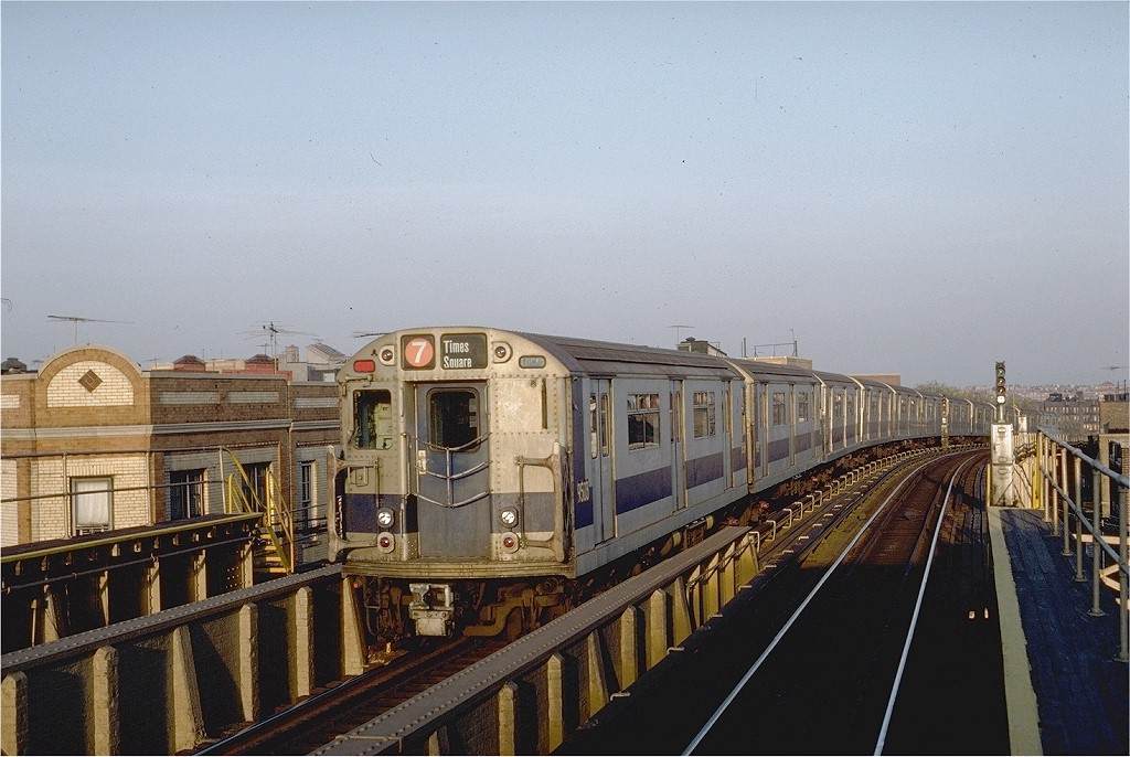 (200k, 1024x686)<br><b>Country:</b> United States<br><b>City:</b> New York<br><b>System:</b> New York City Transit<br><b>Line:</b> IRT Flushing Line<br><b>Location:</b> 52nd Street/Lincoln Avenue <br><b>Route:</b> 7<br><b>Car:</b> R-36 World's Fair (St. Louis, 1963-64) 9503 <br><b>Photo by:</b> Steve Zabel<br><b>Collection of:</b> Joe Testagrose<br><b>Date:</b> 11/2/1981<br><b>Viewed (this week/total):</b> 6 / 3931