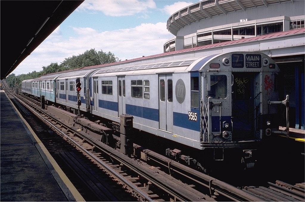 (231k, 1024x681)<br><b>Country:</b> United States<br><b>City:</b> New York<br><b>System:</b> New York City Transit<br><b>Line:</b> IRT Flushing Line<br><b>Location:</b> Willets Point/Mets (fmr. Shea Stadium) <br><b>Route:</b> 7<br><b>Car:</b> R-36 World's Fair (St. Louis, 1963-64) 9565 <br><b>Photo by:</b> Doug Grotjahn<br><b>Collection of:</b> Joe Testagrose<br><b>Date:</b> 8/16/1980<br><b>Viewed (this week/total):</b> 1 / 4073