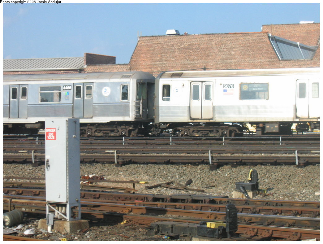 (190k, 1044x788)<br><b>Country:</b> United States<br><b>City:</b> New York<br><b>System:</b> New York City Transit<br><b>Location:</b> Coney Island Yard<br><b>Car:</b> R-68A (Kawasaki, 1988-1989)  5076 <br><b>Photo by:</b> Professor J<br><b>Date:</b> 6/5/2005<br><b>Notes:</b> Unusual lashup R40M 4466 & R68A 5076 at Coney Island Yard by the car wash.<br><b>Viewed (this week/total):</b> 0 / 4230