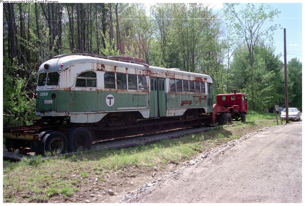 (311k, 1044x704)<br><b>Country:</b> United States<br><b>City:</b> Kennebunk, ME<br><b>System:</b> Seashore Trolley Museum <br><b>Car:</b> MBTA/BSRy PCC Wartime (Pullman-Standard, 1944)  3069 <br><b>Photo by:</b> David Pirmann<br><b>Date:</b> 5/25/1996<br><b>Viewed (this week/total):</b> 2 / 2563