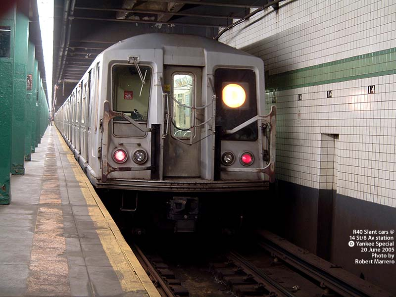 (101k, 800x600)<br><b>Country:</b> United States<br><b>City:</b> New York<br><b>System:</b> New York City Transit<br><b>Line:</b> IND 6th Avenue Line<br><b>Location:</b> 14th Street <br><b>Route:</b> D<br><b>Car:</b> R-40 (St. Louis, 1968)   <br><b>Photo by:</b> Robert Marrero<br><b>Date:</b> 6/20/2005<br><b>Notes:</b> R40 Slant extra train on Yankees special service.<br><b>Viewed (this week/total):</b> 0 / 4722