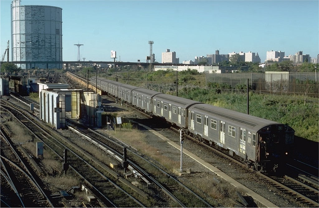 (252k, 1024x667)<br><b>Country:</b> United States<br><b>City:</b> New York<br><b>System:</b> New York City Transit<br><b>Location:</b> Coney Island Yard<br><b>Car:</b> R-32 (Budd, 1964)   <br><b>Photo by:</b> Steve Zabel<br><b>Collection of:</b> Joe Testagrose<br><b>Date:</b> 10/9/1981<br><b>Viewed (this week/total):</b> 3 / 3926