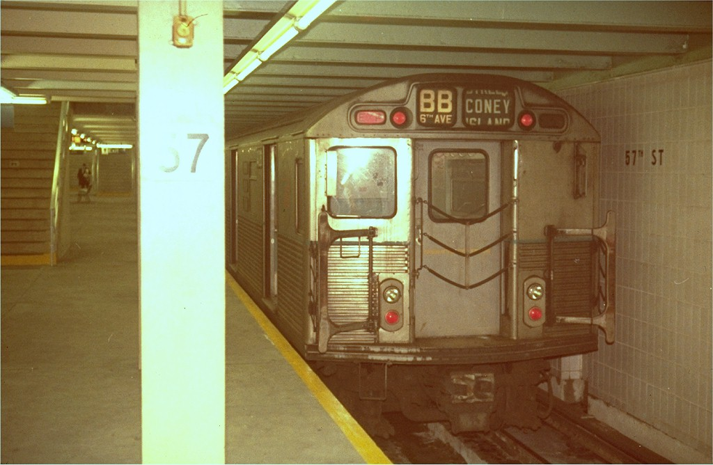 (154k, 1024x668)<br><b>Country:</b> United States<br><b>City:</b> New York<br><b>System:</b> New York City Transit<br><b>Line:</b> IND 6th Avenue Line<br><b>Location:</b> 57th Street <br><b>Route:</b> B<br><b>Car:</b> R-38 (St. Louis, 1966-1967)   <br><b>Photo by:</b> Steve Zabel<br><b>Collection of:</b> Joe Testagrose<br><b>Viewed (this week/total):</b> 0 / 3619