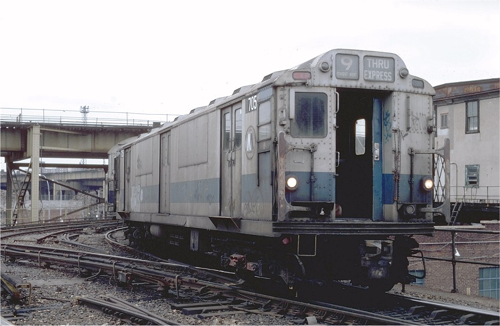 (178k, 1024x668)<br><b>Country:</b> United States<br><b>City:</b> New York<br><b>System:</b> New York City Transit<br><b>Location:</b> East New York Yard/Shops<br><b>Car:</b> R-12 (American Car & Foundry, 1948) R705 (ex-5759)<br><b>Photo by:</b> Steve Zabel<br><b>Collection of:</b> Joe Testagrose<br><b>Date:</b> 12/15/1981<br><b>Viewed (this week/total):</b> 2 / 2765