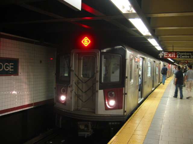 (84k, 640x480)<br><b>Country:</b> United States<br><b>City:</b> New York<br><b>System:</b> New York City Transit<br><b>Line:</b> IRT East Side Line<br><b>Location:</b> Brooklyn Bridge/City Hall <br><b>Route:</b> 6<br><b>Car:</b> R-142A (Primary Order, Kawasaki, 1999-2002)  7341 <br><b>Photo by:</b> Oren H.<br><b>Date:</b> 8/6/2002<br><b>Viewed (this week/total):</b> 3 / 4973