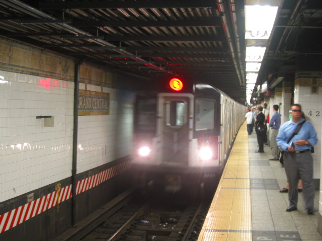 (93k, 640x480)<br><b>Country:</b> United States<br><b>City:</b> New York<br><b>System:</b> New York City Transit<br><b>Line:</b> IRT East Side Line<br><b>Location:</b> Grand Central <br><b>Route:</b> 6<br><b>Car:</b> R-142A (Primary Order, Kawasaki, 1999-2002)  7401 <br><b>Photo by:</b> Oren H.<br><b>Date:</b> 8/6/2002<br><b>Viewed (this week/total):</b> 2 / 3415