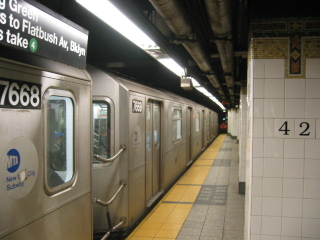 (92k, 640x480)<br><b>Country:</b> United States<br><b>City:</b> New York<br><b>System:</b> New York City Transit<br><b>Line:</b> IRT East Side Line<br><b>Location:</b> Grand Central <br><b>Route:</b> 6<br><b>Car:</b> R-142A (Option Order, Kawasaki, 2002-2003)  7669 <br><b>Photo by:</b> Oren H.<br><b>Date:</b> 11/30/2002<br><b>Viewed (this week/total):</b> 4 / 3725