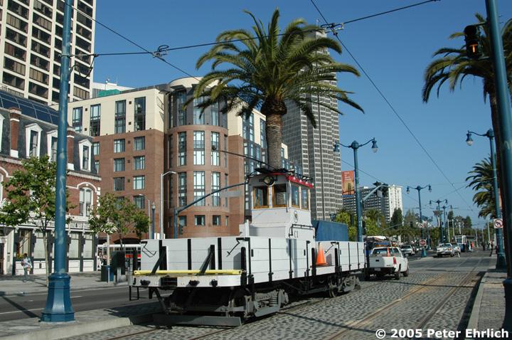 (201k, 720x478)<br><b>Country:</b> United States<br><b>City:</b> San Francisco/Bay Area, CA<br><b>System:</b> SF MUNI<br><b>Location:</b> Embarcadero/Mission <br><b>Car:</b> SF MUNI Work Fleet C1 <br><b>Photo by:</b> Peter Ehrlich<br><b>Date:</b> 6/4/2005<br><b>Notes:</b> Work Car C-1--Muni flatbed motor built 1923 with overhead wire and onboard diesel generator for off-wire operational capability.<br><b>Viewed (this week/total):</b> 0 / 626