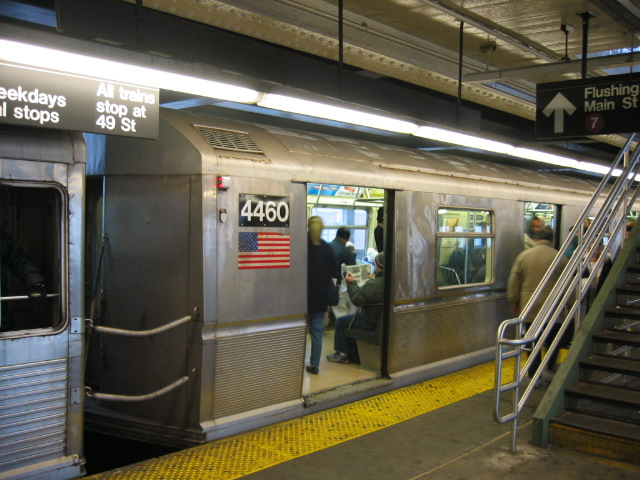 (118k, 640x480)<br><b>Country:</b> United States<br><b>City:</b> New York<br><b>System:</b> New York City Transit<br><b>Line:</b> BMT Astoria Line<br><b>Location:</b> Queensborough Plaza <br><b>Route:</b> N<br><b>Car:</b> R-40M (St. Louis, 1969)  4460 <br><b>Photo by:</b> Oren H.<br><b>Date:</b> 11/29/2002<br><b>Notes:</b> Coupled to R42 4665-lost their mates in the Williamsburg Bridge collision.<br><b>Viewed (this week/total):</b> 0 / 2946