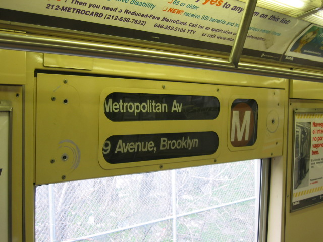 (109k, 640x480)<br><b>Country:</b> United States<br><b>City:</b> New York<br><b>System:</b> New York City Transit<br><b>Route:</b> M<br><b>Car:</b> R-40M (St. Louis, 1969)  Interior <br><b>Photo by:</b> Oren H.<br><b>Notes:</b> Side rollsign.<br><b>Viewed (this week/total):</b> 0 / 2853