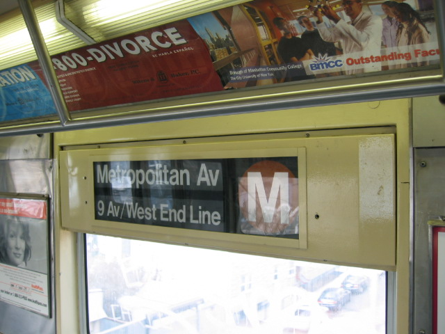 (101k, 640x480)<br><b>Country:</b> United States<br><b>City:</b> New York<br><b>System:</b> New York City Transit<br><b>Route:</b> M<br><b>Car:</b> R-42 (St. Louis, 1969-1970)  Interior <br><b>Photo by:</b> Oren H.<br><b>Notes:</b> Side rollsign.<br><b>Viewed (this week/total):</b> 1 / 2284