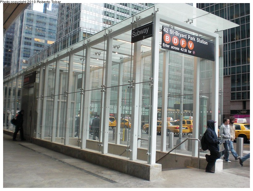 (203k, 820x620)<br><b>Country:</b> United States<br><b>City:</b> New York<br><b>System:</b> New York City Transit<br><b>Line:</b> IND 6th Avenue Line<br><b>Location:</b> 42nd Street/Bryant Park <br><b>Photo by:</b> Roberto C. Tobar<br><b>Date:</b> 4/16/2010<br><b>Notes:</b> New entrance at 42nd & 6th N.W. corner<br><b>Viewed (this week/total):</b> 2 / 1304