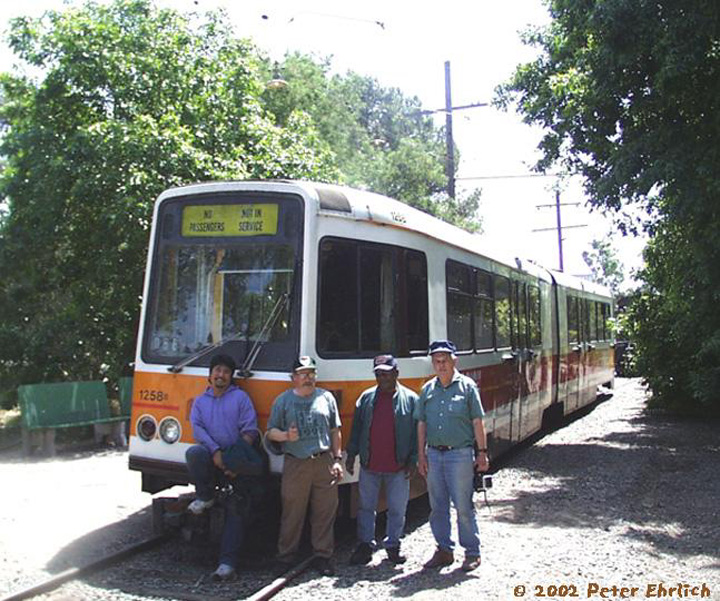 (202k, 720x601)<br><b>Country:</b> United States<br><b>City:</b> Rio Vista Junction, CA<br><b>System:</b> Western Railway Museum <br><b>Car:</b> MUNI Standard LRV (Boeing-Vertol, 1976-78) 1258 <br><b>Photo by:</b> Peter Ehrlich<br><b>Date:</b> 5/25/2002<br><b>Notes:</b> At Western Railway Museum, Rio Vista Junction, CA.  In May 2002, Boeing 1258 was sent to the Western Railway Museum to be preserved there.  It's the first day of operation there.  Four other Muni Boeings are preserved.<br><b>Viewed (this week/total):</b> 4 / 2664
