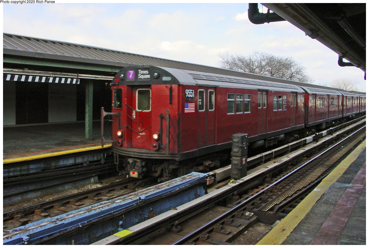 (63k, 820x620)<br><b>Country:</b> United States<br><b>City:</b> New York<br><b>System:</b> New York City Transit<br><b>Line:</b> IRT Flushing Line<br><b>Location:</b> Willets Point/Mets (fmr. Shea Stadium) <br><b>Route:</b> 7<br><b>Car:</b> R-36 Main Line (St. Louis, 1964) 9551 <br><b>Photo by:</b> Richard Panse<br><b>Date:</b> 3/22/2002<br><b>Viewed (this week/total):</b> 2 / 2246