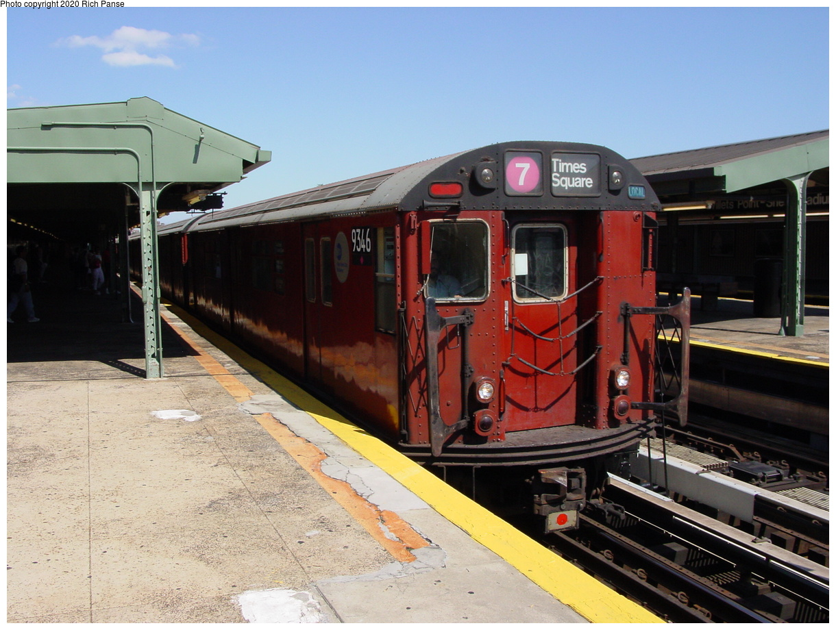 (79k, 820x620)<br><b>Country:</b> United States<br><b>City:</b> New York<br><b>System:</b> New York City Transit<br><b>Line:</b> IRT Flushing Line<br><b>Location:</b> Willets Point/Mets (fmr. Shea Stadium) <br><b>Route:</b> 7<br><b>Car:</b> R-36 World's Fair (St. Louis, 1963-64) 9346 <br><b>Photo by:</b> Richard Panse<br><b>Date:</b> 8/21/2002<br><b>Viewed (this week/total):</b> 2 / 3590