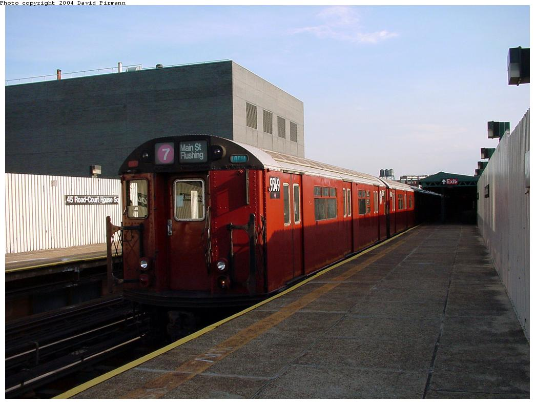 (104k, 1044x788)<br><b>Country:</b> United States<br><b>City:</b> New York<br><b>System:</b> New York City Transit<br><b>Line:</b> IRT Flushing Line<br><b>Location:</b> Court House Square/45th Road <br><b>Route:</b> 7<br><b>Car:</b> R-36 World's Fair (St. Louis, 1963-64) 9349 <br><b>Photo by:</b> David Pirmann<br><b>Date:</b> 7/16/2001<br><b>Viewed (this week/total):</b> 1 / 3412
