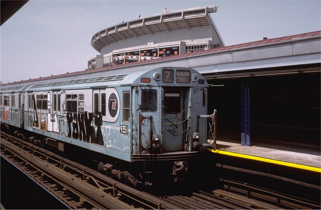 (197k, 1024x671)<br><b>Country:</b> United States<br><b>City:</b> New York<br><b>System:</b> New York City Transit<br><b>Line:</b> IRT Flushing Line<br><b>Location:</b> Willets Point/Mets (fmr. Shea Stadium) <br><b>Route:</b> 7<br><b>Car:</b> R-36 World's Fair (St. Louis, 1963-64) 9351 <br><b>Collection of:</b> Joe Testagrose<br><b>Date:</b> 4/28/1974<br><b>Viewed (this week/total):</b> 2 / 6590